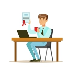 Man drinking coffee with finished signed contract vector