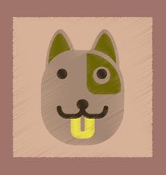 flat shading style icon dog smiles vector image