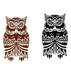 Tribal owl with decorative ornament vector