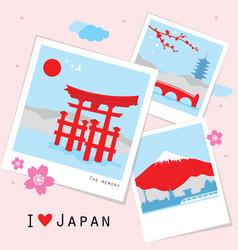 japan view travel photo frame memory vector image