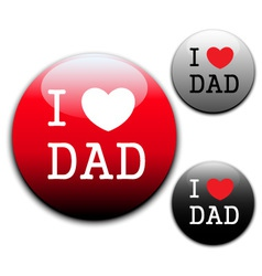 I love Dad sign and labels on white background vector image