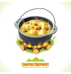Camping symbol food pot vector