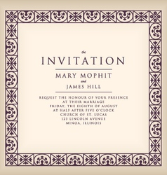 Invitation with border frame renaissance vector