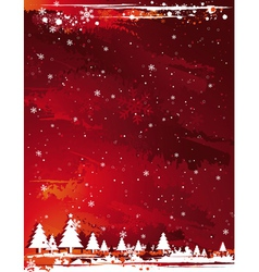 red grunge christmas background vector image