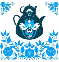 A teapot on a blue background vector