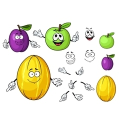 Cartoon juicy green apple melon and plum fruits vector