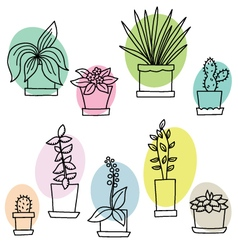Different flowers in pots vector