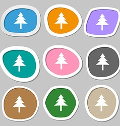 Christmas tree icon symbols multicolored paper vector