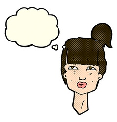 Cartoon female head with thought bubble vector