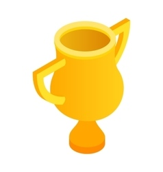 Golden trophy cup isometric 3d icon vector