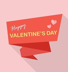 Happy valentines day on flat ribbon vector
