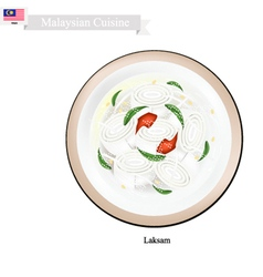 Laksam or malaysian wide rice noodle soup vector