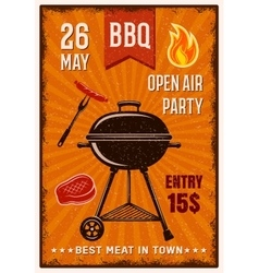 BBQ Open Air Party Vintage Poster vector image