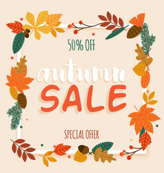 Autumn sale banner with leaf poster flyer vector