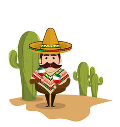 Background cactus with man mexican and traditional vector