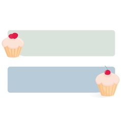 Banner set with cupcakes on green and blue vector image
