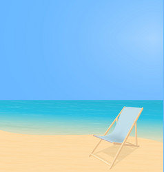 Beach landscape with deck chair vector