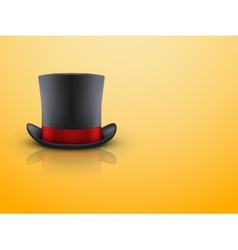 Black gentleman hat cylinder and red ribbon vector image