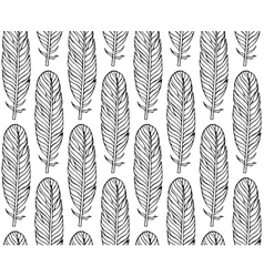 Black white seamless pattern with feathers boho vector
