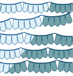 blue shading silhouette with set of festoons in vector image vector image
