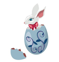Bunny Inside a Cracked Egg vector image vector image