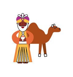 Cartoon wise king with camel manger characters vector