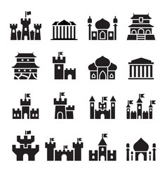 Castle palace icons vector