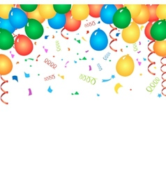 Colorful birthday balloons and confetti - vector image