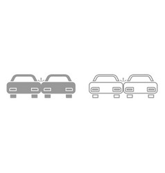 crashed cars it is black icon vector image