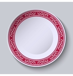 Decorative dish with an ethnic floral patterns on vector image