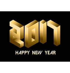 Gold New Year 2017 isometric style design vector image vector image