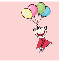 happy little girl flying with the balloons vector image