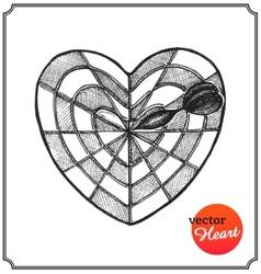 Heart in form target of defeat arrow in goal vector