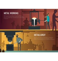 Industrial metallurgy foundry 2 retro banners vector