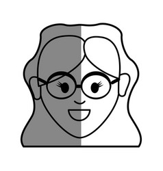 Line happy face woman with glasses and hairstyle vector