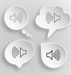 Loudspeaker white flat buttons on gray background vector