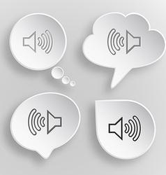 Loudspeaker white flat buttons on gray background vector