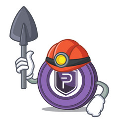 Miner pivx coin mascot cartoon vector