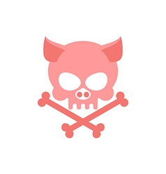 Pig skull with bones head skeleton of pig logo for vector