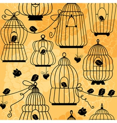 seamless pattern with decorative bird cage Silhoue vector image vector image