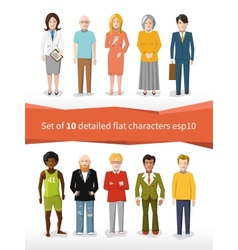 set of 10 detailed flat characters on white vector image vector image