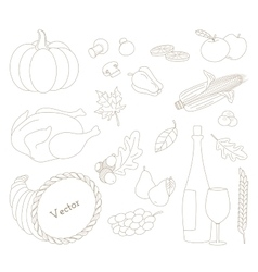 Set of hand drawn Thanksgiving elements in modern vector image
