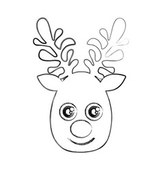 Silhouette blurred cute face reindeer animal vector