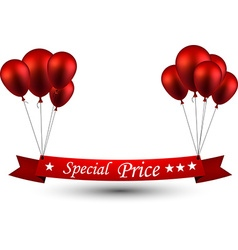 Special price red ribbon background with balloons vector