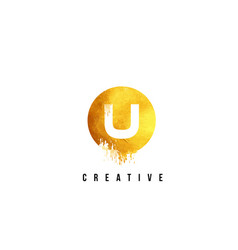 U gold letter logo design with round circular vector