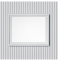 White striped wall with frame vector image