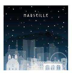 Winter night in marseille night city vector