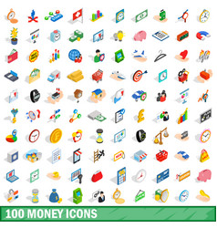 100 money icons set isometric 3d style vector image