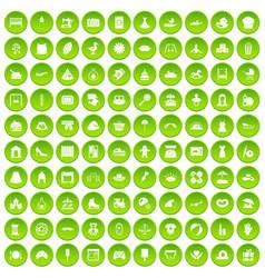 100 motherhood icons set green circle vector