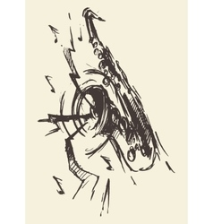 Sketch saxophone jazz retro style drawn vector